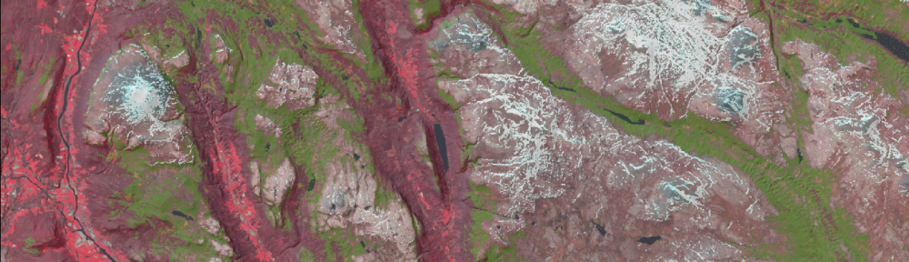 Deliniated subalpine zone (green) draped on Landsat image